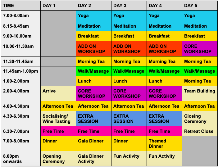 ultimate corporate retreat schedule